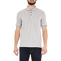 Burton - Dove grey two-tone pique polo shirt