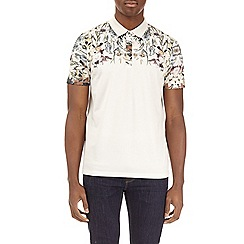Burton - Ecru floral raglan polo shirt