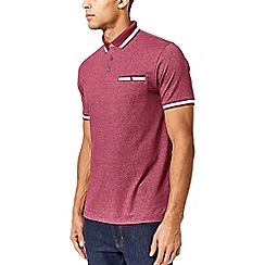 Burton - Burgundy textured tipped collar polo shirt