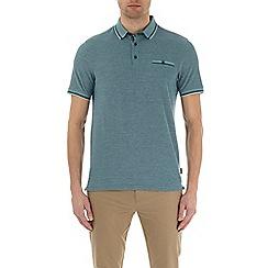 Burton - Verdant green two-tone short sleeve polo shirt