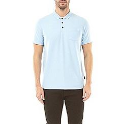 Burton - Chambray blue stretch polo shirt
