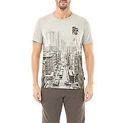 Burton - Grey new york placement print t-shirt