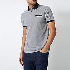 Burton - White And Navy Outline Popcorn Polo Shirt