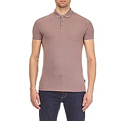 Burton - Pink taupe muscle fit polo shirt