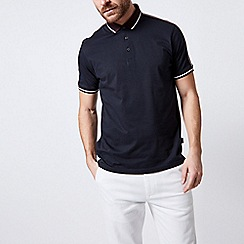 Burton - Navy polo shirt with burgundy shoulder tape