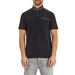 Burton - Black popcorn texture polo shirt