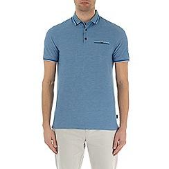 Burton - Deep blue two-tone short sleeve polo shirt