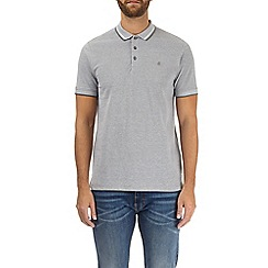 Burton - Grey two-tone pique polo shirt
