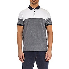 Burton - Navy and white cut and sew polo shirt