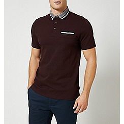 Burton - Burgundy tri-tip collar popcorn polo shirt