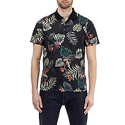 Burton - Black and orange floral pattern polo shirt