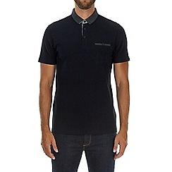 Burton - Navy popcorn textured polo shirt