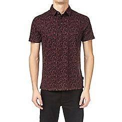 Burton - Burgundy all-over floral print polo shirt