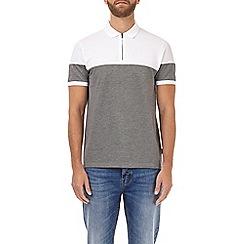 Burton - Grey two-tone cut and sew zip polo shirt