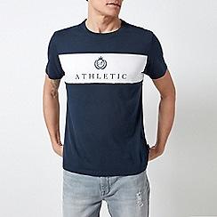 Burton - Navy And White Athletic Print T-Shirt