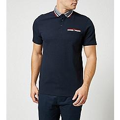Burton - Navy tri-tip collar popcorn polo shirt