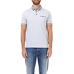 Burton - Light blue grid jacquard polo shirt