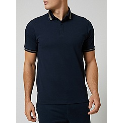 Burton - Navy lurex collar popcorn polo shirt
