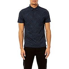 Burton - Navy paisley print polo shirt