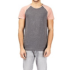 Burton - Coral and charcoal raglan t-shirt