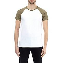 Burton - Khaki and white raglan t-shirt