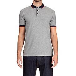 Burton - Charcoal popper stretch polo shirt