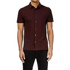 Burton - Burgundy short sleeve pique shirt