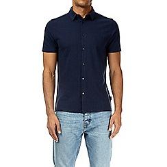 Burton - Navy short sleeve pique shirt