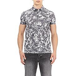 Burton - Black and white faded palm print polo shirt