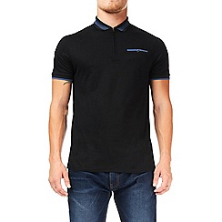 Burton - Black bold tipped zip neck polo shirt