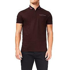 Burton - Burgundy bold tipped zip neck polo shirt