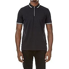 Burton - Black smart zip neck polo shirt