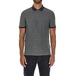 Burton - Grey zip neck polo shirt