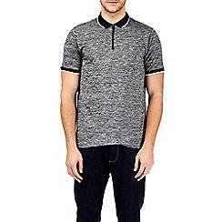 Burton - Charcoal zip neck stretch polo shirt