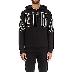 Burton - Black retro printed over-head hoodie
