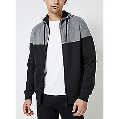 Burton - Black cut and sew pique panel hoodie