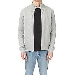 Burton - Grey marl zip-through funnel neck sweatshirt