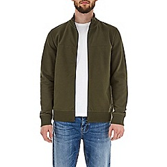 Burton - Khaki zip-through funnel neck sweatshirt
