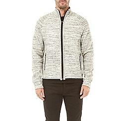 Burton - Ecru injection fabric interest zip-through funnel neck sweatshirt