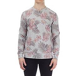 Burton - Grey marl floral all-over print sweatshirt