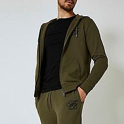 Burton - Khaki 'mb' embroidered zip through hoodie