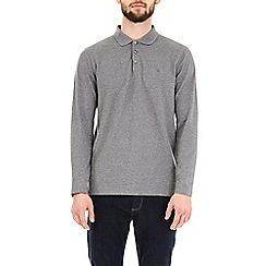 Burton - Grey jaspe texture long sleeve polo shirt