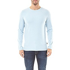 Burton - Chambray blue muscle fit long sleeve t-shirt
