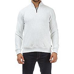 Burton - Frost grey marl quarter zip funnel neck sweatshirt