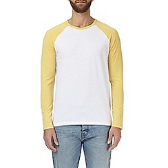 Burton - Golden grass yellow and white raglan t-shirt