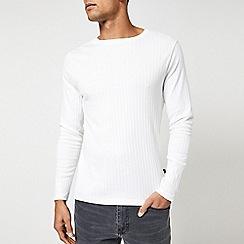 Burton - White long sleeve rib t-shirt