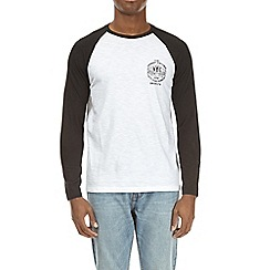 Burton - Black and white long sleeve chest print raglan t-shirt