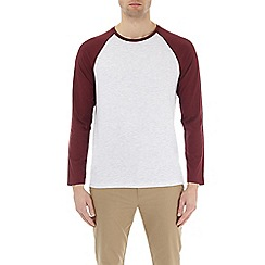 Burton - Light burgundy and frost long sleeve raglan t-shirt