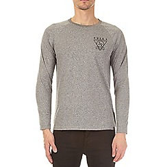Burton - Grey grindle long sleeve raglan t-shirt with chest print
