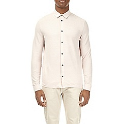 Burton - Cream two tone long sleeve pique shirt